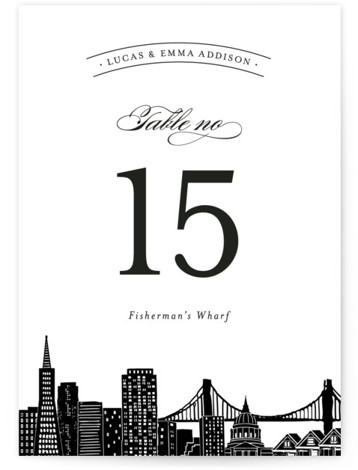 This is a portrait destination, hand drawn, modern, whimsical, black and white Table Numbers by Hooray Creative called Big City San Francisco with Standard printing on Signature in Classic fold over (blank inside) format. Table numbers come in a flat ...