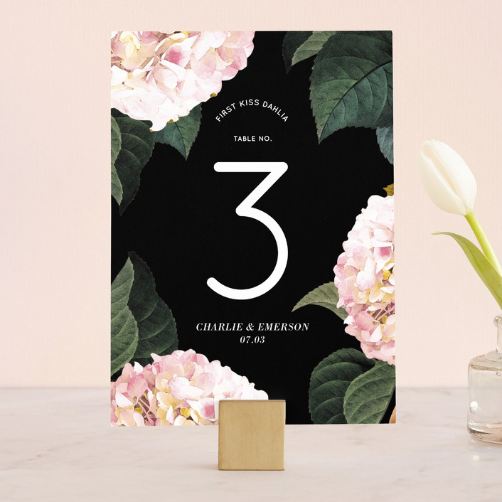 """Peonie Party"" - Floral & Botanical Wedding Table Numbers in Noir by Baumbirdy."