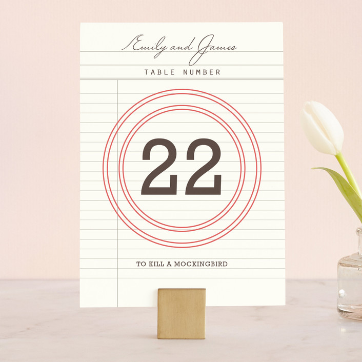 """""""Library"""" - Vintage Wedding Table Numbers in Soft Ruby by annie clark."""