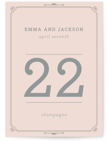 This is a portrait simple, vinatge, pink Table Numbers by Bourne Paper Co. called All About Archer with Standard printing on Luxe Museum Board in Classic Flat Card format. An ode to the font we all know and love.