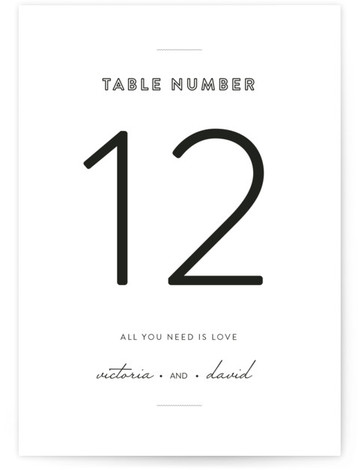 This is a portrait classical, elegant, simple, black and white Table Numbers by Design Lotus called Plain Jane with Standard printing on Luxe Museum Board in Classic Flat Card format. A simple modern take on the classic invitation. Understated with ...