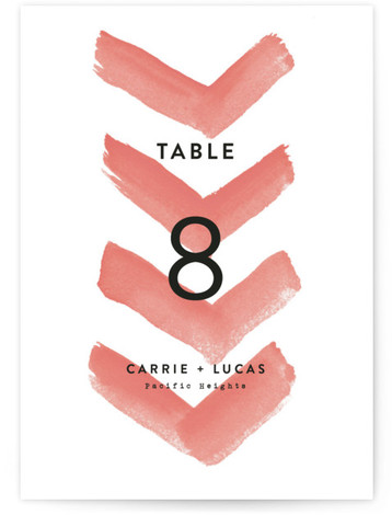 This is a portrait modern, pink Table Numbers by Hooray Creative called Painted Chevrons with Standard printing on Luxe Museum Board in Classic Flat Card format. Painted chevrons and simple bold type.