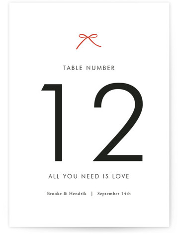 This is a portrait simple, red Table Numbers by Design Lotus called Sweet Boutique with Standard printing on Luxe Museum Board in Classic Flat Card format. Pretty and minimalistic
