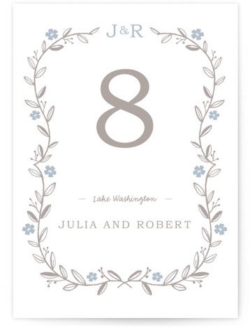 This is a portrait monogrammed, rustic, grey, blue Table Numbers by SimpleTe Design called Garland with Standard printing on Luxe Museum Board in Classic Flat Card format. Elegant garland trimmed wedding invite with leaves and flowers.