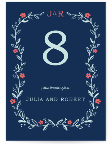 This is a portrait monogrammed, rustic, red, blue Table Numbers by SimpleTe Design called Garland with Standard printing on Luxe Museum Board in Classic Flat Card format. Elegant garland trimmed wedding invite with leaves and flowers.