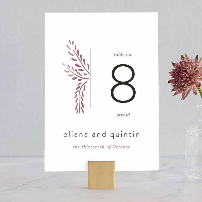 """Lupines"" - Rustic Wedding Table Numbers in Marsala by R studio."