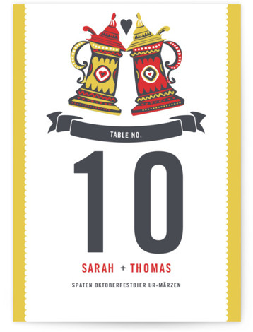 This is a portrait destination, ethnic/cultural, whimsical, orange Table Numbers by Casey Fritz called German Stein Toast with Standard printing on Luxe Museum Board in Classic Flat Card format. This is a bright retro design of German steins toasting in ...