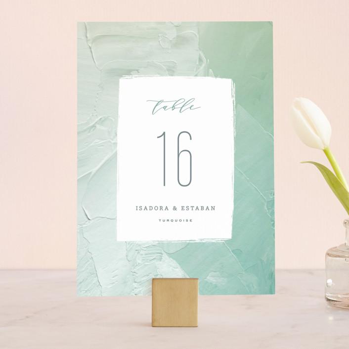 """""""Painted Sea"""" - Wedding Table Numbers in Seafoam by Hooray Creative."""