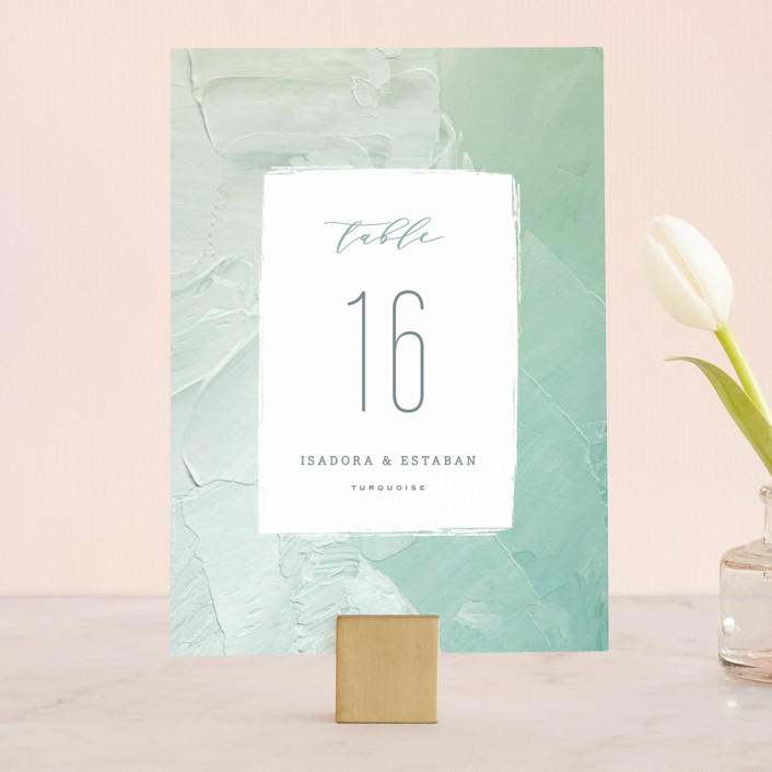 """Painted Sea"" - Wedding Table Numbers in Seafoam by Hooray Creative."