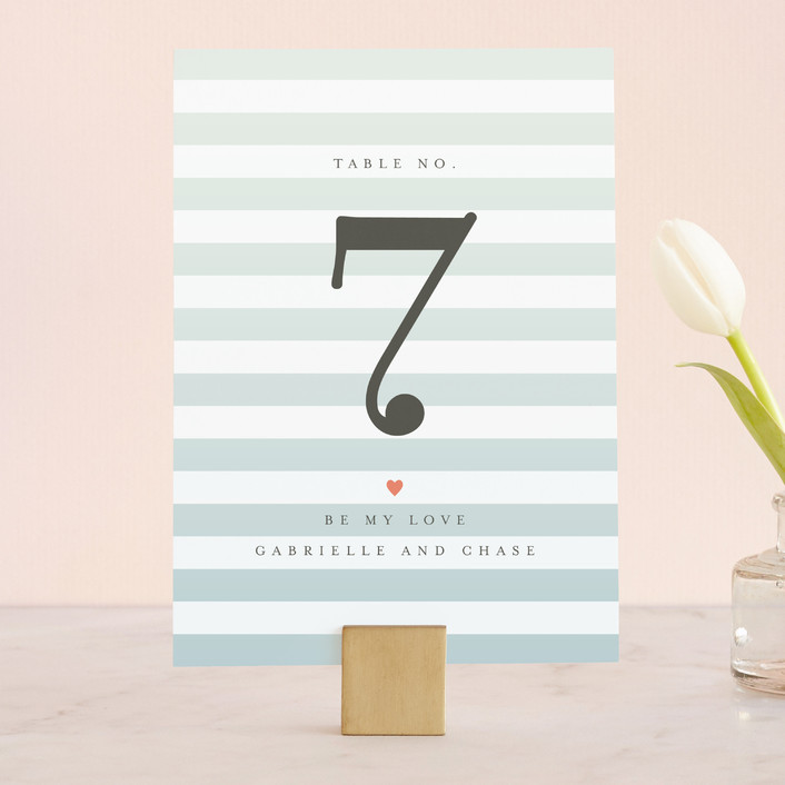 """Ombre Stripes"" - Modern, Simple Wedding Table Numbers in Ocean by Jill Means."