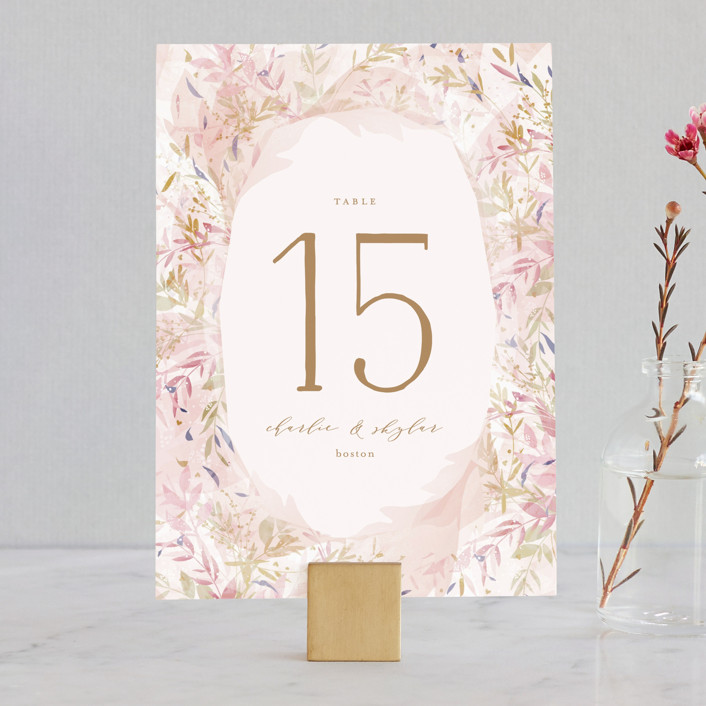 """Fantasy Floral Bride"" - Wedding Table Numbers in Blush by Phrosne Ras."