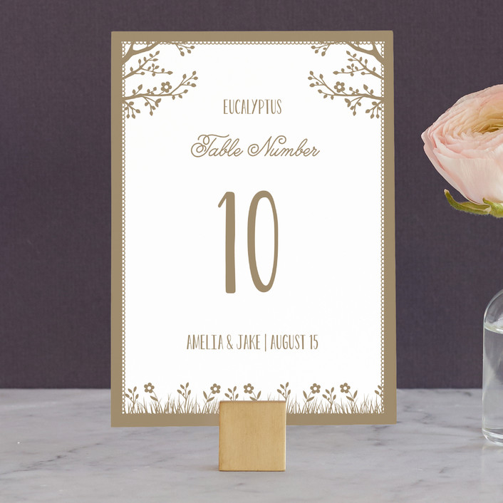 """""""Kraft Woodland Tree"""" - Rustic Wedding Table Numbers in Buckwheat by Coco and Ellie Design."""