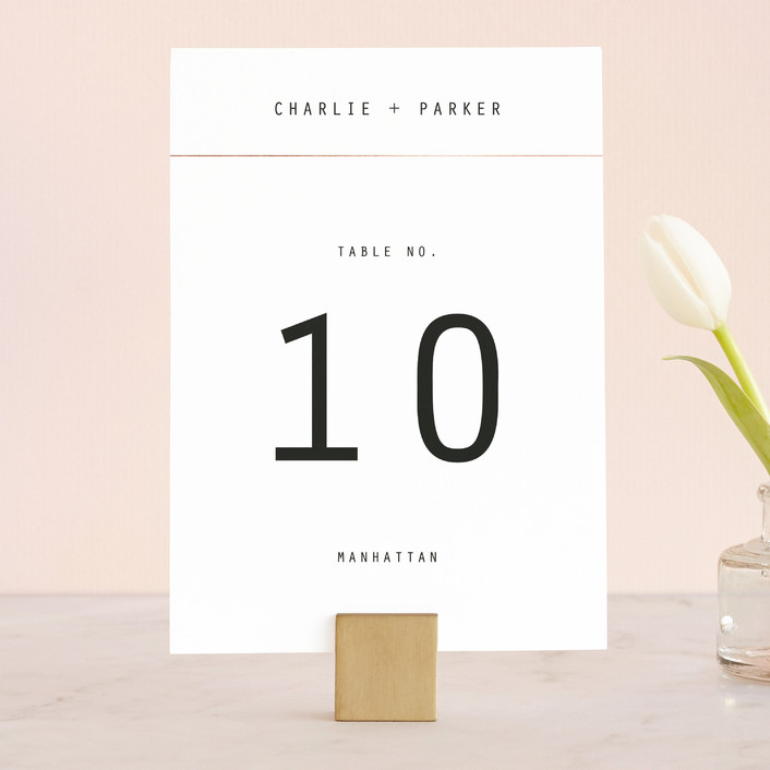 """""""BOLD AS LOVE"""" - Simple, Modern Wedding Table Numbers in Noir by DESIGN X FIVE."""