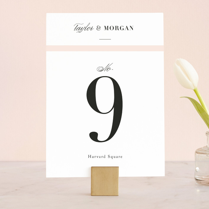 """""""Darling and Dashing"""" - Preppy Wedding Table Numbers in Blush by Alston Wise."""