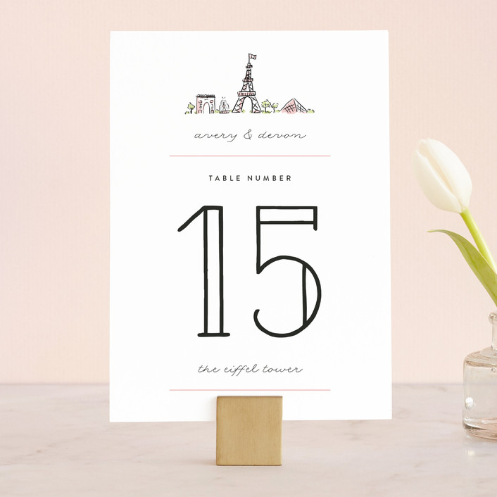 """""""Darling Day Paris"""" - Destination, Modern Wedding Table Numbers in Blush by Pistols."""
