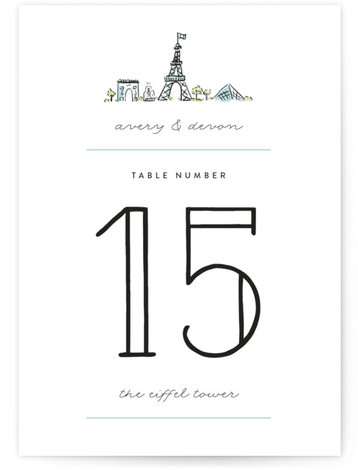 This is a portrait cities and states, destination, formal, hand drawn, modern, simple, whimsical, blue Table Numbers by Pistols called Darling Day Paris with Standard printing on Luxe Museum Board in Classic Flat Card format. Table numbers come in a ...
