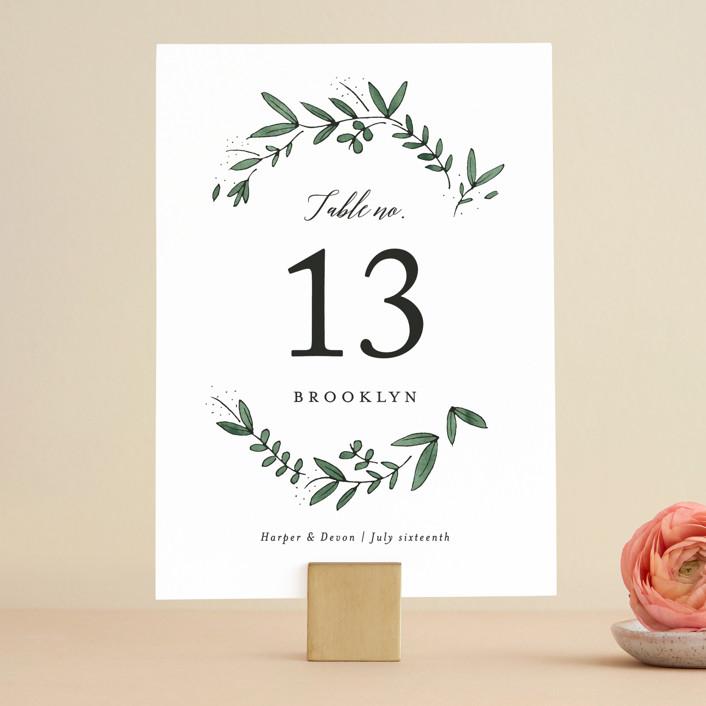 """Floral Wreath"" - Wedding Table Numbers in Fresh by Kelly Schmidt."