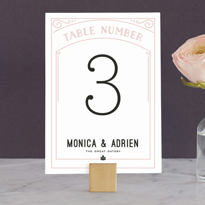 """Romantic Revelry"" - Bold typographic, Vintage Wedding Table Numbers in Blush by GeekInk Design."