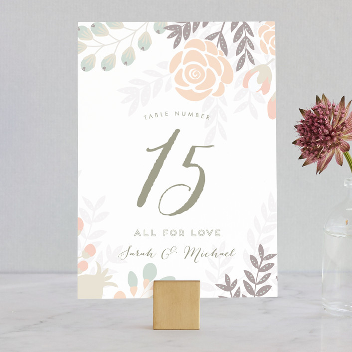 """Flower Burst"" - Floral & Botanical Wedding Table Numbers in Blush by Phrosne Ras."