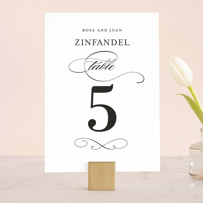 """""""Formal Ink"""" - Classical, Formal Wedding Table Numbers in Black Tie by Jill Means."""