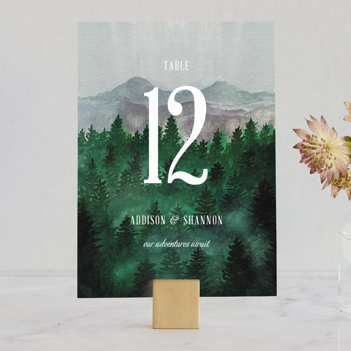 """Adventure Awaits"" - Rustic, Destination Wedding Table Numbers in Smoke by Elly."