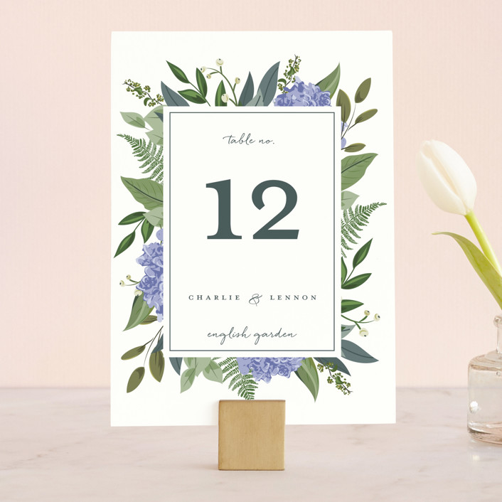 """""""Hydrangea Frame"""" - Wedding Table Numbers in Periwinkle by Susan Moyal."""