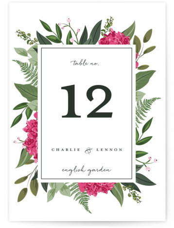 This is a botanical, pink Table Numbers by Susan Moyal called Hydrangea Frame with Standard printing on Luxe Museum Board in Classic Flat Card format. Table numbers come in a flat or folded format. Select from our Signature, Premium 100% ...