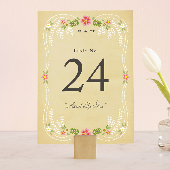 """""""Wisteria"""" - Rustic, Floral & Botanical Wedding Table Numbers in Pink Berry by Griffinbell Paper Co.."""