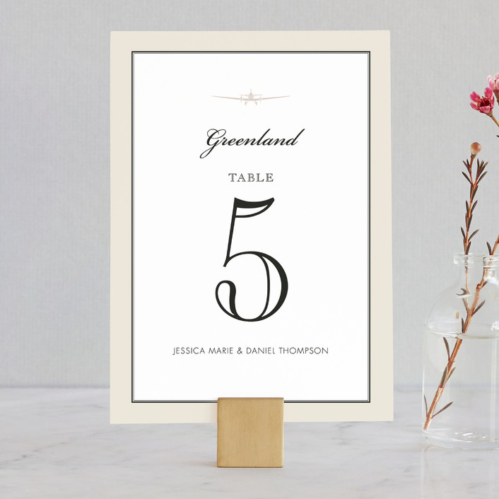 """Edenbridge"" - Destination, Vintage Wedding Table Numbers in Light Cream by Dauphine Press."