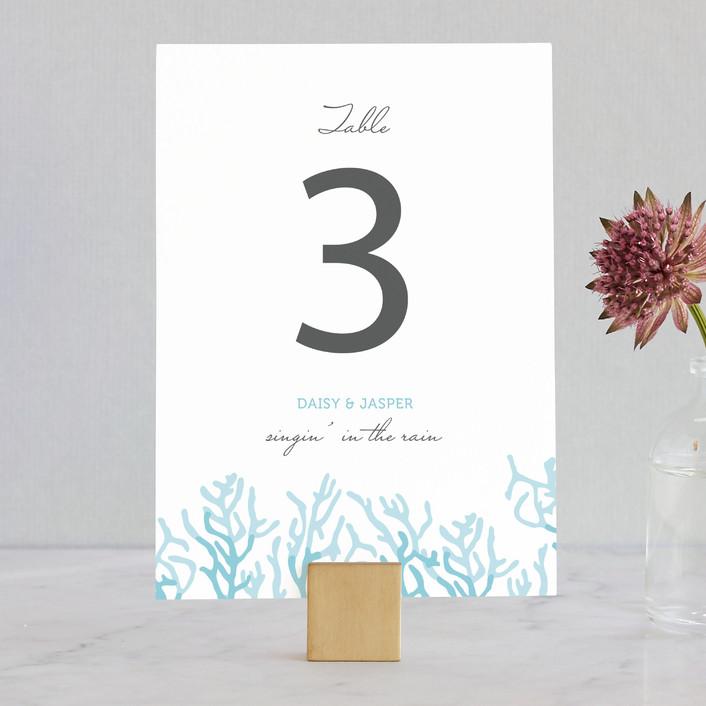"""Simple Coral"" - Beach Wedding Table Numbers in Aqua by SimpleTe Design."