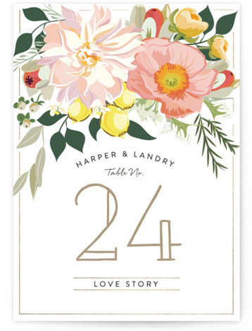 This is a portrait floral, pink Table Numbers by Susan Moyal called Spring Blooms with Standard printing on Luxe Museum Board in Classic Flat Card format. Table numbers come in a flat or folded format. Select from our Signature, Premium ...