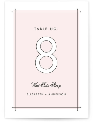 This is a portrait modern, pink Table Numbers by Lauren Chism called Me & You with Standard printing on Luxe Museum Board in Classic Flat Card format. Modern meets romance in a fresh way with this clean type inspired wedding ...