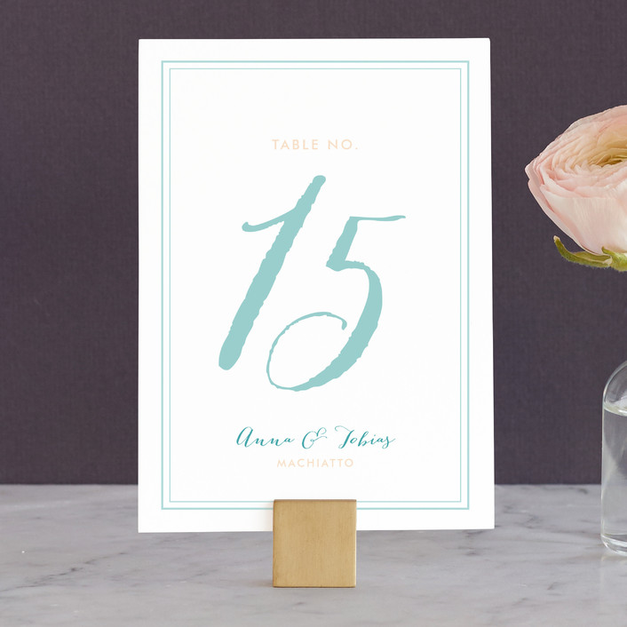 """Sunwashed Wildflowers"" - Rustic Wedding Table Numbers in Aquamarine by Frooted Design."