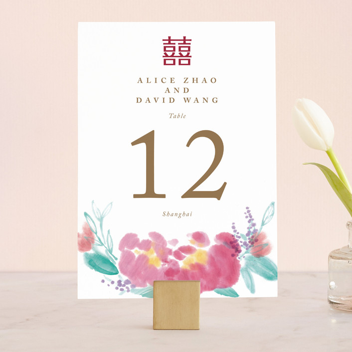 """""""Chinese Traditional"""" - Floral & Botanical, Hand Drawn Wedding Table Numbers in Petal by Qing Ji."""