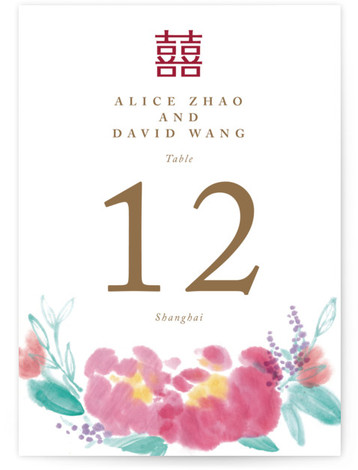 This is a portrait ethnic/cultural, floral, hand drawn, pink Table Numbers by Qing Ji called Chinese Traditional with Standard printing on Luxe Museum Board in Classic Flat Card format. This dual language invitation features hand drawn Chinese traditional painting on ...