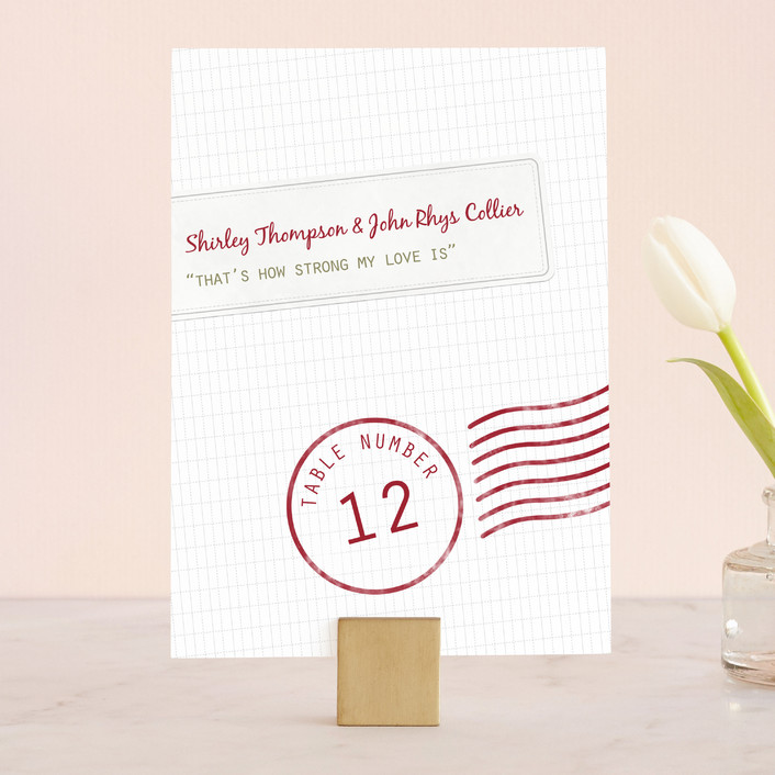"""A Faraway Destination"" - Destination, Whimsical & Funny Wedding Table Numbers in Deep Red by bumble ink."