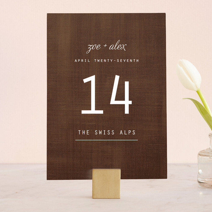 """""""Chocolate Matrimony"""" - Rustic, Bold typographic Wedding Table Numbers in Chocolate by Jamie Leigh."""