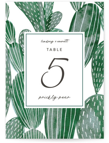 This is a green Table Numbers by Olivia Raufman called Painted Cacti with Standard printing on Luxe Museum Board in Classic Flat Card format. Table numbers come in a flat or folded format. Select from our Signature, Premium 100% Recycled, ...