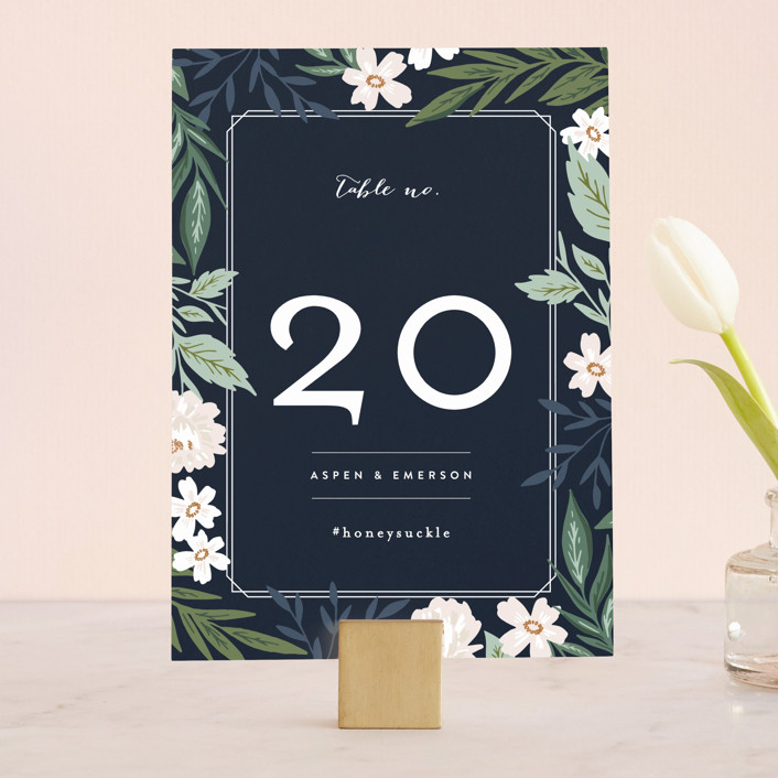 """""""Floral Edged Frame"""" - Wedding Table Numbers in Royal by Alethea and Ruth."""