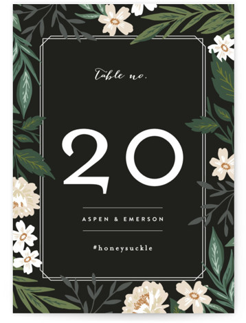 This is a black, colorful Table Numbers by Alethea and Ruth called Floral Edged Frame with Standard printing on Luxe Museum Board in Classic Flat Card format. Table numbers come in a flat or folded format. Select from our Signature, ...