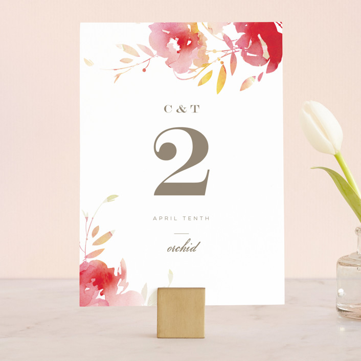 """Stately Florals"" - Wedding Table Numbers in Poppy by Lori Wemple."