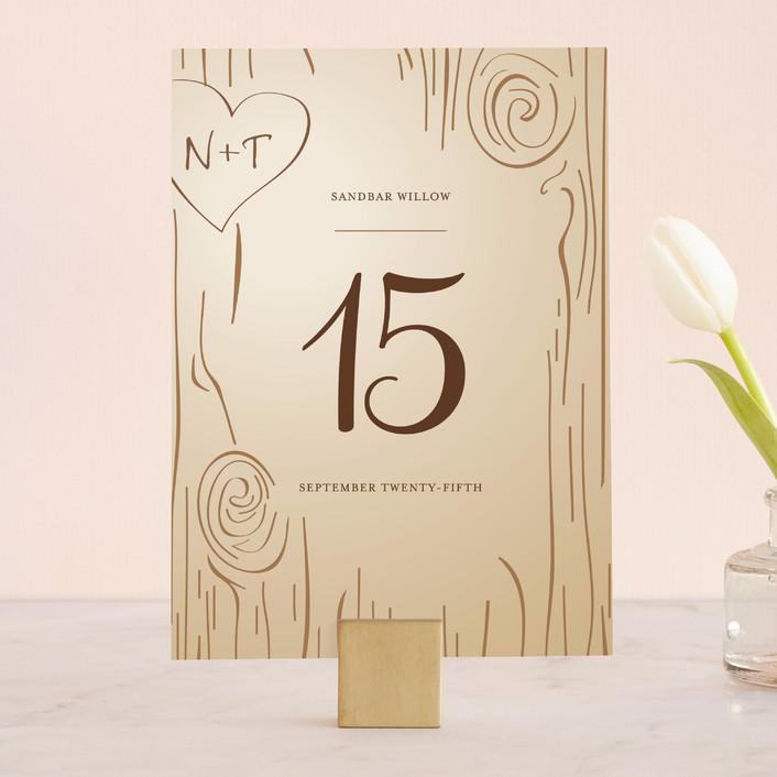 """Fall Carving"" - Rustic, Whimsical & Funny Wedding Table Numbers in Woodgrain by Amanda Joy."