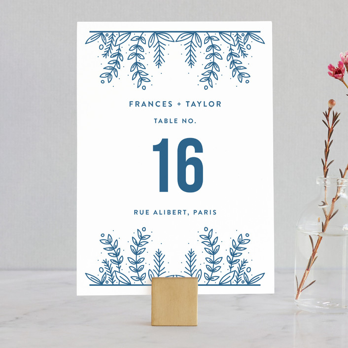 """""""Botanical"""" - Wedding Table Numbers in Cobalt by Bethan."""