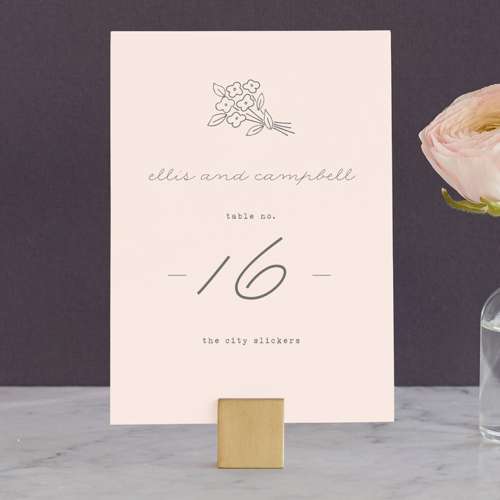 """""""Simply Yours"""" - Floral & Botanical, Whimsical & Funny Wedding Table Numbers in Peony by Sara Hicks Malone."""