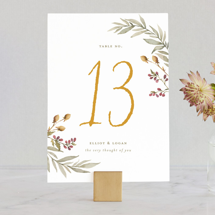 """Summer Love"" - Rustic Wedding Table Numbers in Sunflower by Wildfield Paper Co.."
