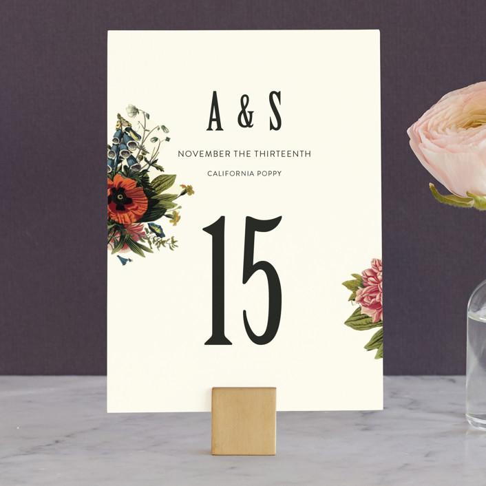 """Vintage Garden Invite"" - Floral & Botanical, Vintage Wedding Table Numbers in Vintage Beige by Alisa Wismer."