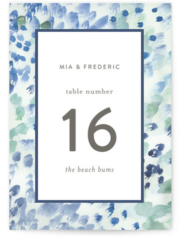 This is a portrait painterly, blue Table Numbers by Sara Hicks Malone called Painted with Standard printing on Signature in Classic fold over (blank inside) format. Table numbers come in a flat or folded format. Select from our Signature, Premium ...