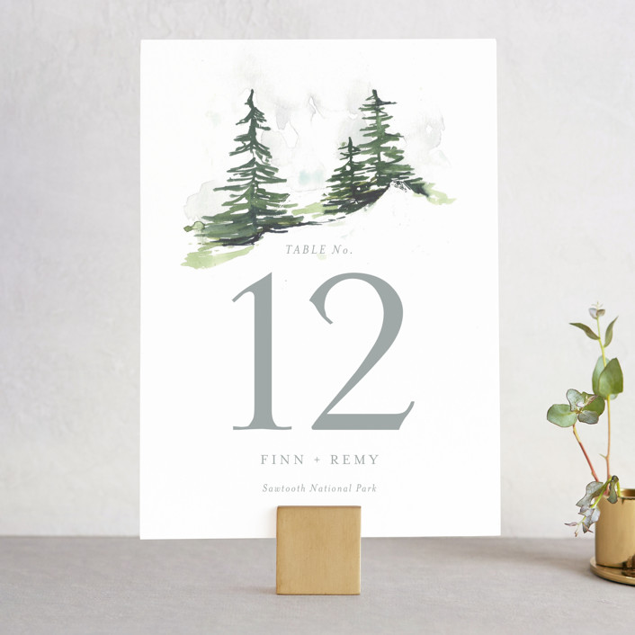 """""""On the Slopes"""" - Rustic Wedding Table Numbers in Fog by Mere Paper."""