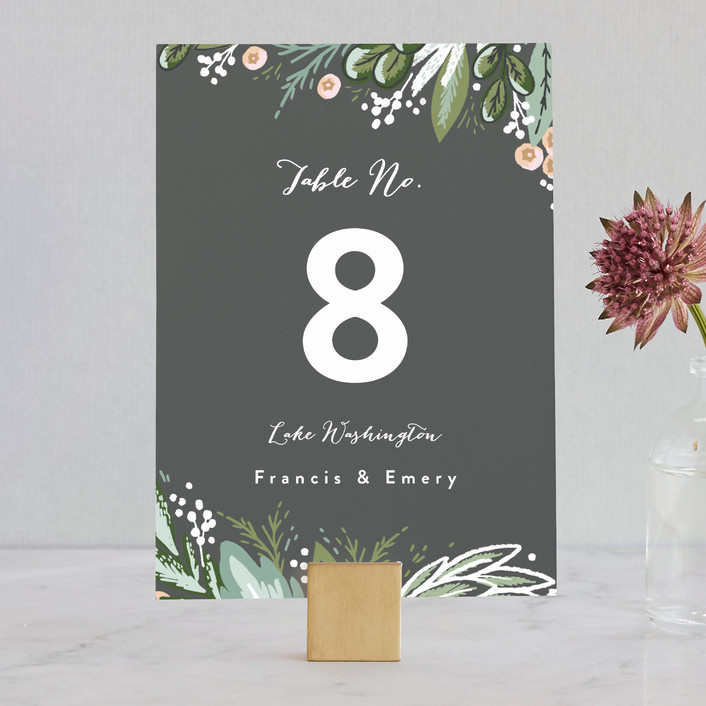 """""""Meadow Breeze"""" - Wedding Table Numbers in Charcoal by Alethea and Ruth."""