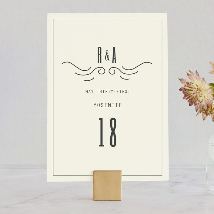 """""""Mountain Affair"""" - Hand Drawn, Destination Wedding Table Numbers in Cream by Hannah Williams."""